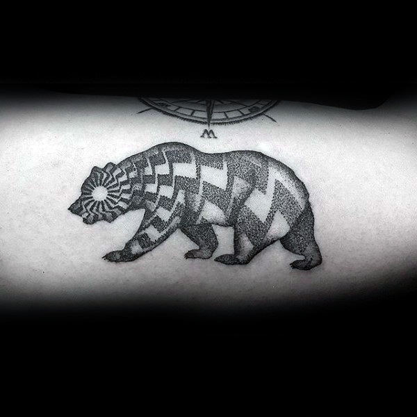 Mens California Bear Pattern Dotwork Forearm Tattoo