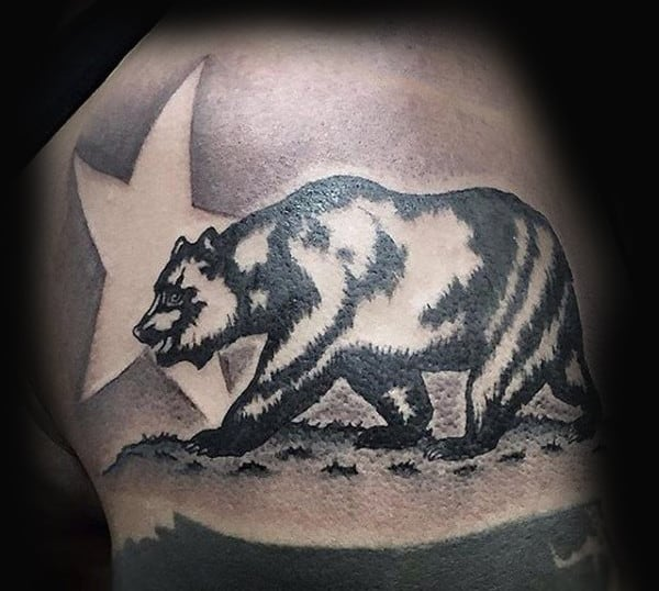 Mens California Bear With Star Tattoo On Upper Arm