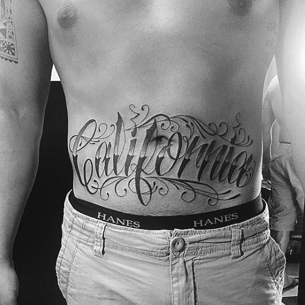 Mens California Lettering Stomach Tattoo