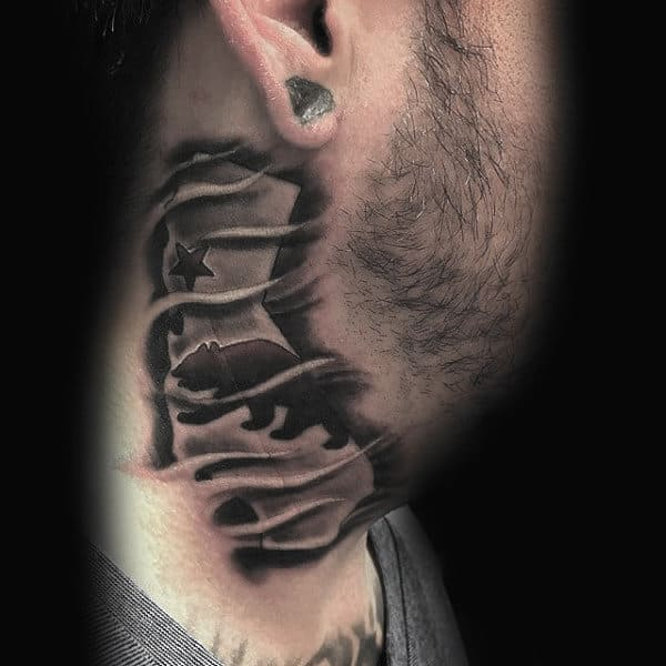 Mens California Neck Tattoos