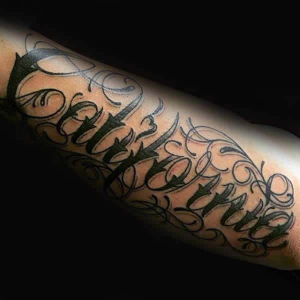 Mens California Orante Lettering Tattoo On Forearms