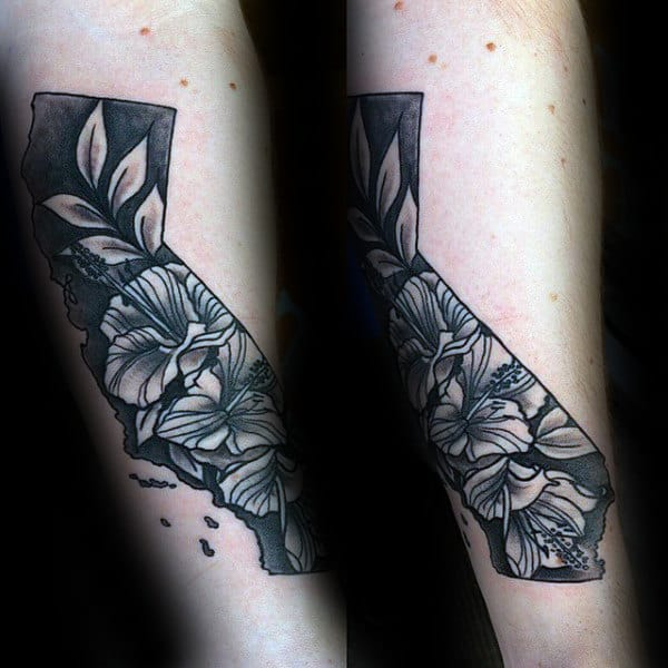 Mens California State Hibiscus Tattoo On Forearm