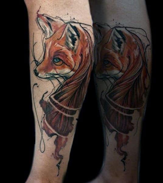 Mens Calves Crafty Brown Fox Tattoo