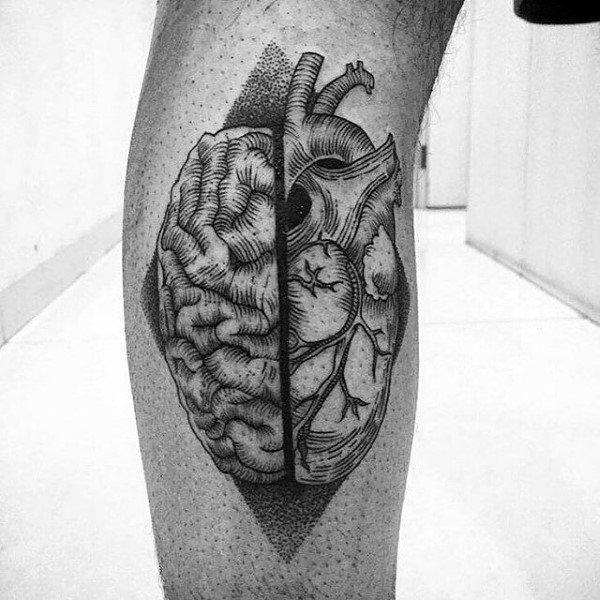 Mens Calves Dotted Brain Tattoo