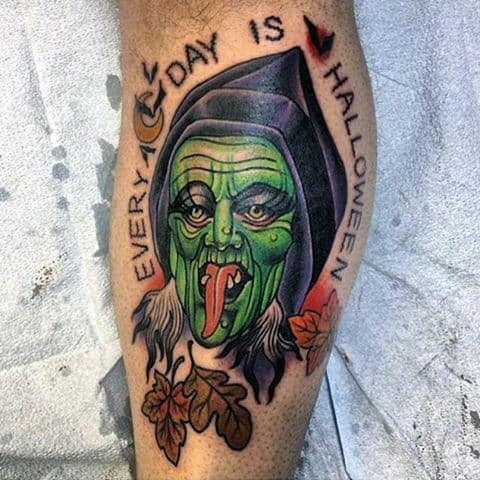 Mens Calves Everyday Is Halloween Tattoo