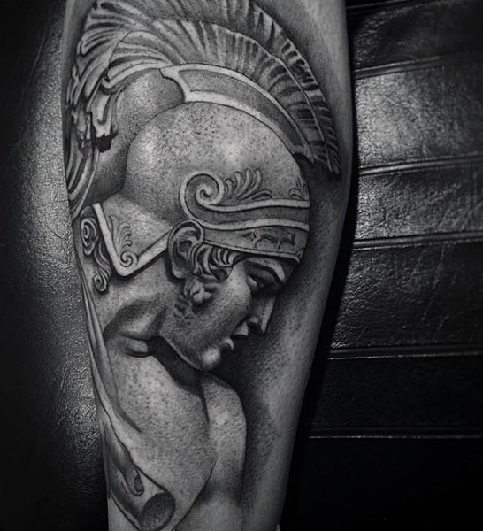 Mens Calves Grey Shaded Medieval Warrior Profile Tattoo