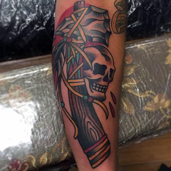 Mens Calves Native American Weapons And Skull Tattoo