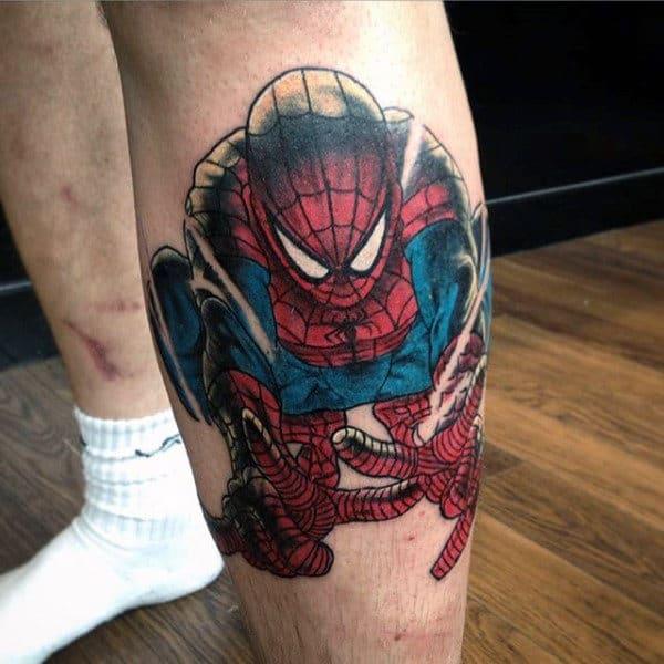 Mens Calves Spiderman Tattoo