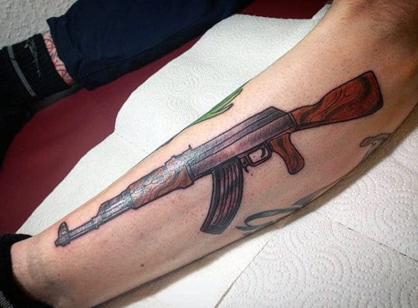 Mens Calves Wooden Ak 47 Tattoo