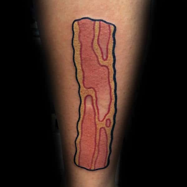 Mens Calves Yummy Bacon Tattoo