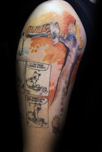 70 Calvin And Hobbes Tattoo Designs For Men Comic Ideas