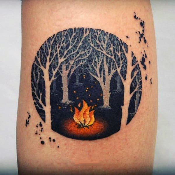 Mens Campfire Negative Space Forest Circle Tattoo On Arm