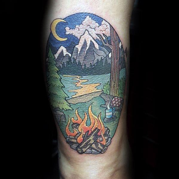 Mens Campfire Tattoo Design Ideas