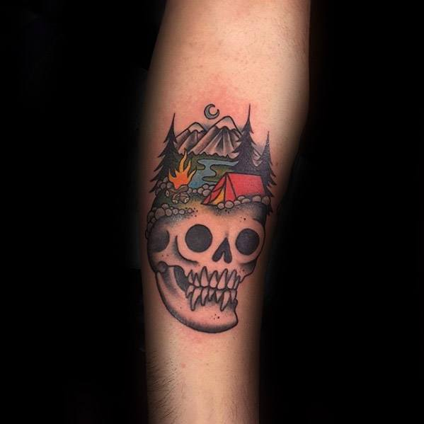 Mens Camping Tattoo Design Inspiration On Forearm With Skull