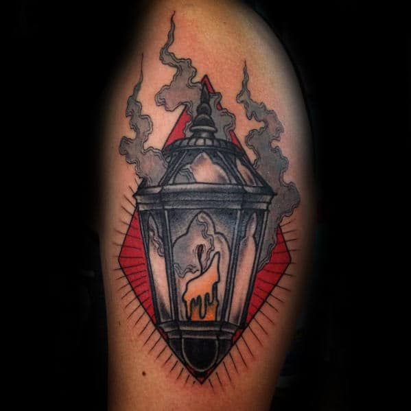 Mens Candle Inside Smoking Lantern Arm Traditional Tattoo