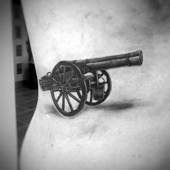 Mens Cannon 3d Rib Cage Side Tattoo Design Ideas