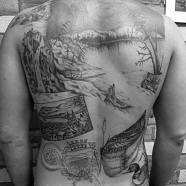 Mens Canoe Full Back Tattoo Design Ideas
