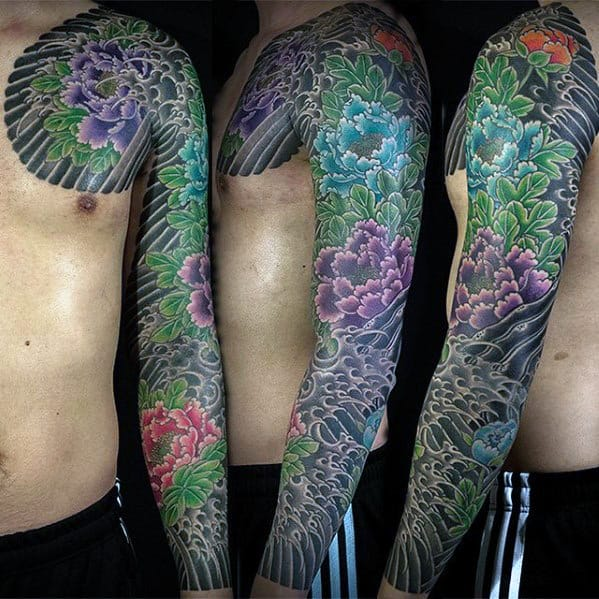 Mens Carnation Japanese Flower Full Sleeve Tattoos