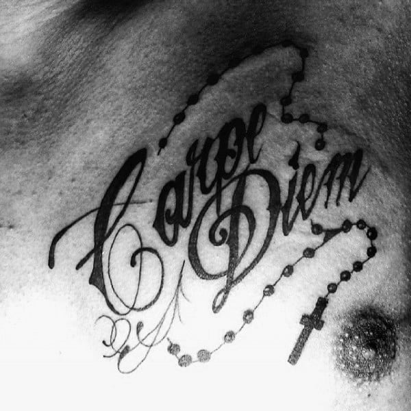 Mens Carpe Diem Rosary Chest Tattoo With Black Ink