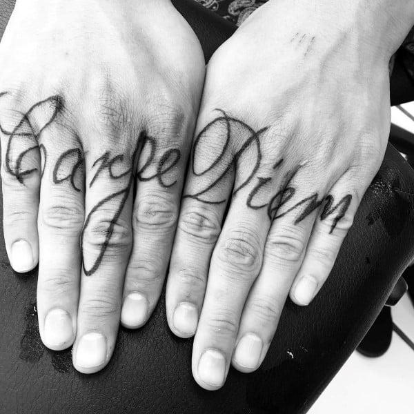 Mens Carpe Diem Script Finger Tattoos