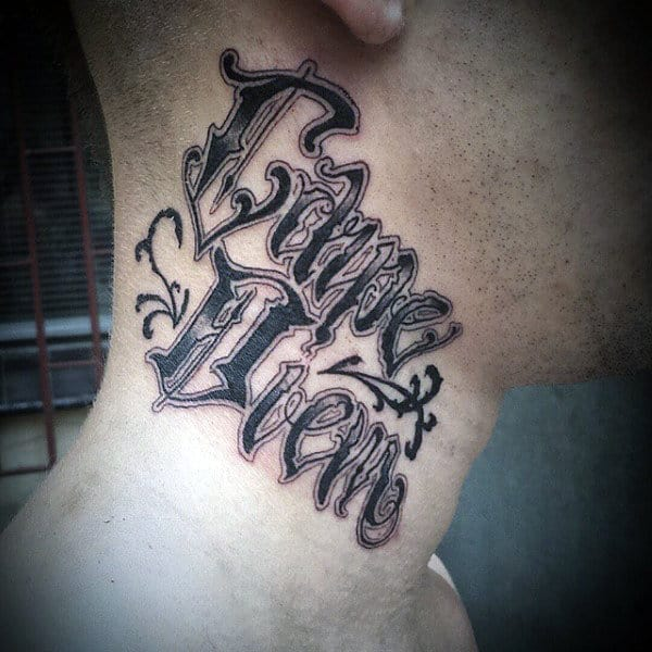 Mens Carpe Diem Tattoo On Neck