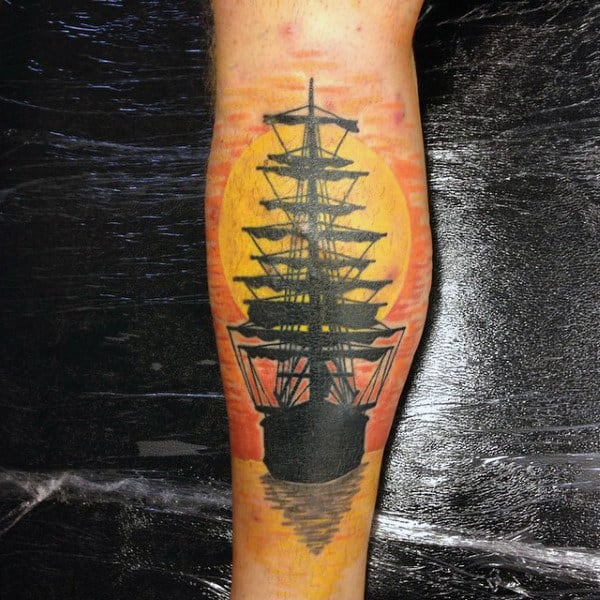 Mens Carrick Ship Sailing At Sunset Calf Tattoo