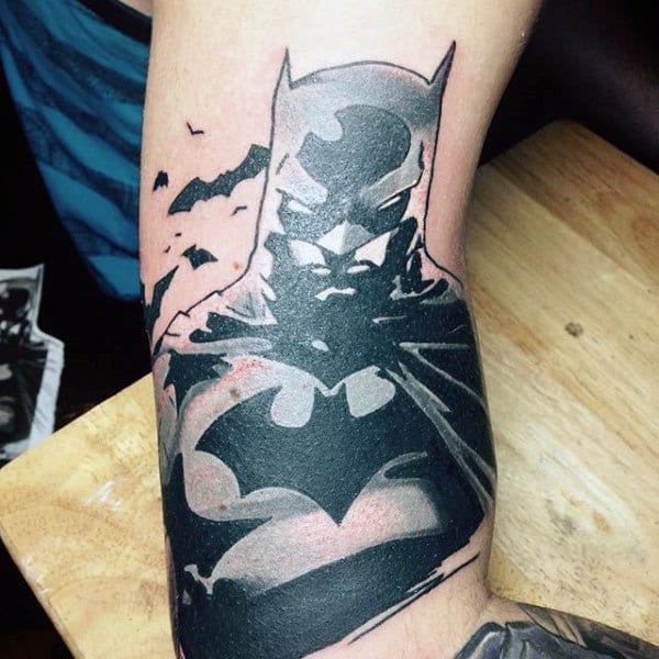 Mens Cartoon Style Batman Tattoos On Bicep Of Arm