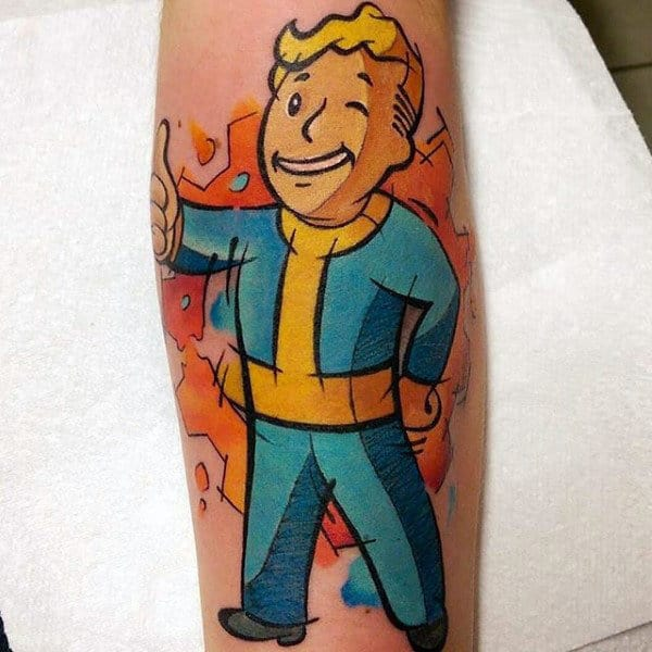 Mens Cartoon Style Video Game Fallout Tattoo Design