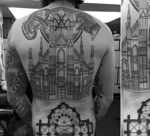 Mens Castle Building Full Back Tattoo Ideas