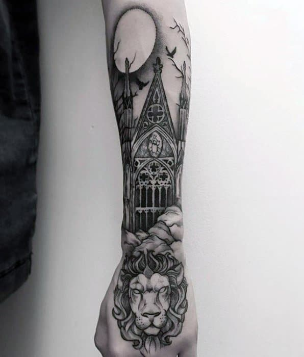 Mens Cathedral Tattoo Design Ideas