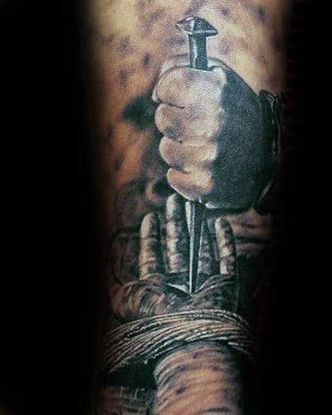 Mens Catholic 3d Spike Through Hand Of Jesus Forearm Tattoo