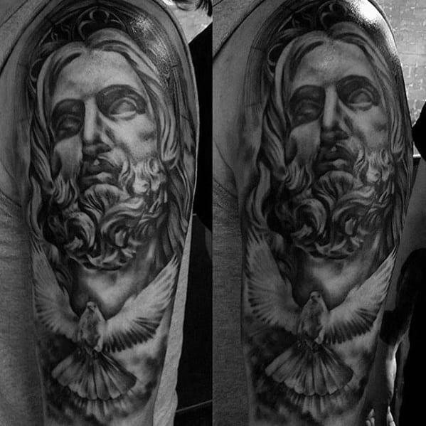 Mens Catholic Flying Dove With Jesus Shaded Half Sleeve Tattoo