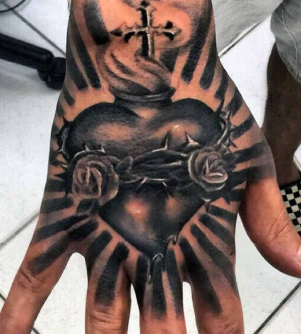 Mens Catholic Sacred Heart Sun Ray Hand Tattoos
