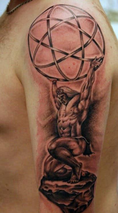 Mens Celestial Spheres Atlas Upper Arm Tattoo With Realistic Design