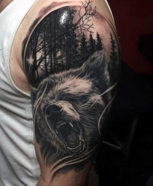Men's Celtic Bear Tattoo Half Sleeve