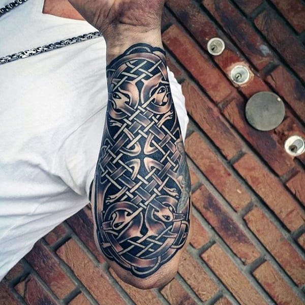 Mens Celtic Knot Outer Forearm Sleeve Tattoo