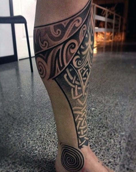 Mens Celtic Knot Shin Tattoo Ideas