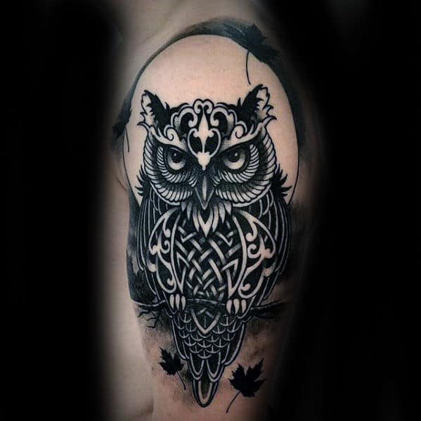 Mens Celtic Knot Tribal Owl Arm Tattoo