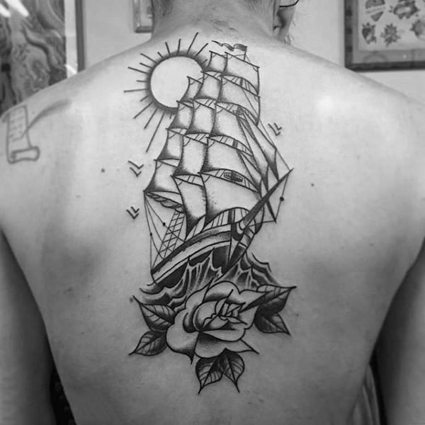 Mens Center Of Back Traditional Sailing Ship With Rose Flower Tattoo Design
