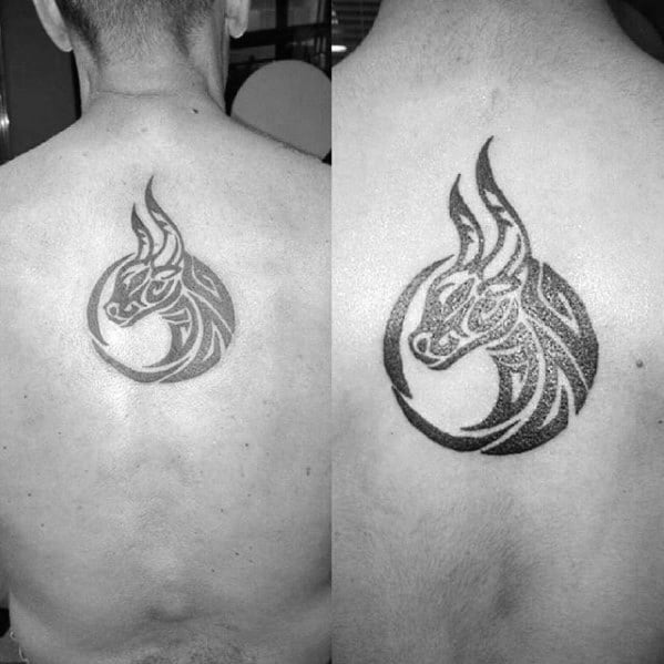 Mens Center Of Back Tribal Bull Circular Tattoo Designs