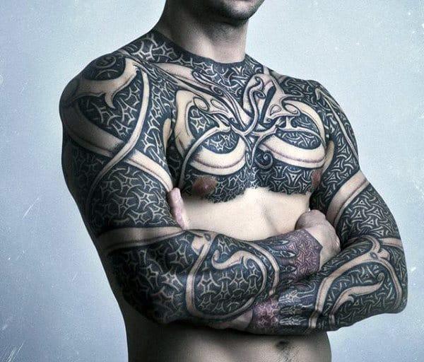 Mens Chain Link Tattoos Full Body Art