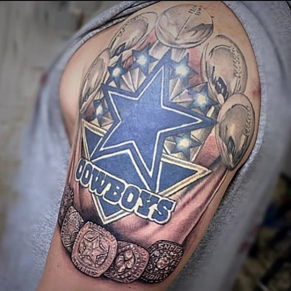 50 dallas cowboys tattoos for men manly nfl ink ideas. Black Bedroom Furniture Sets. Home Design Ideas