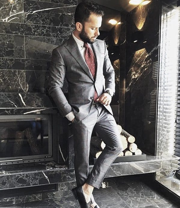 Mens Charcoal Grey Suit Black Shoes Burgundy Red Tie Style Ideas