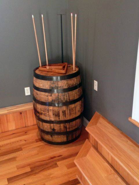 Mens Cheap Man Cave Ideas Pool Cue Holder Wood Barrel