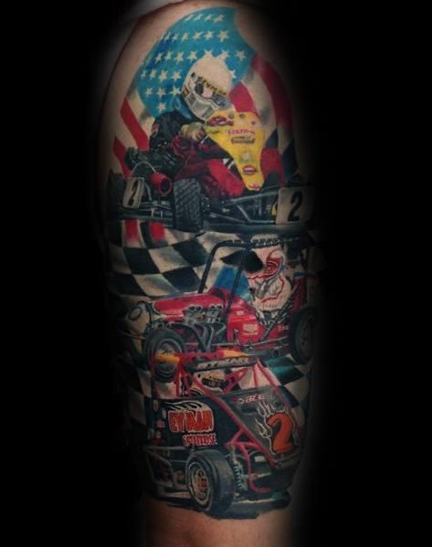Mens Checkered Flag Tattoo Designs