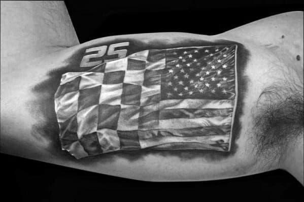 Mens Checkered Flag Tattoo Ideas