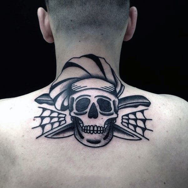 Mens Chef Skull Traditional Upper Back And Neck Tattoos
