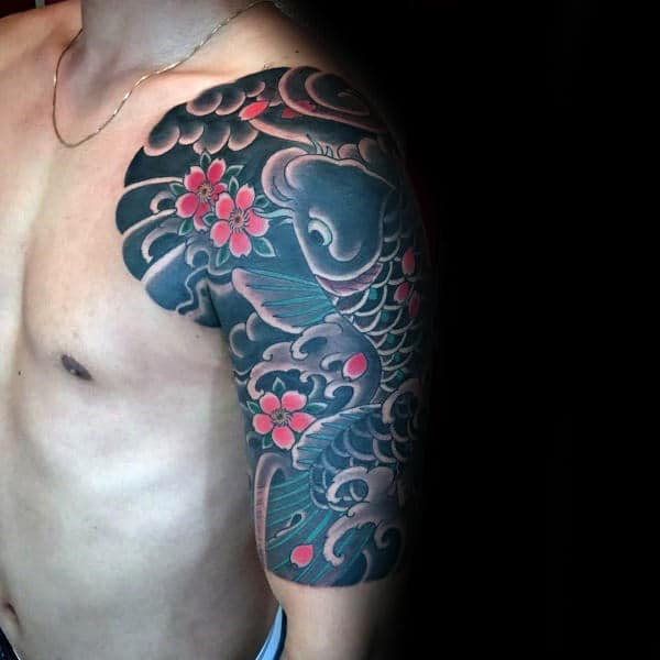 Mens Cherry Blossom Half Sleeve Japanese Koi Fish Tattoos