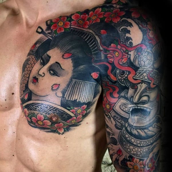 Mens Cherry Blossom Japanese Chest And Sleeve Tattoo