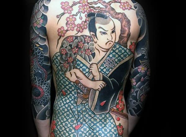 Mens Cherry Blossom Japanese Full Back Tattoo Design Ideas